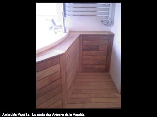 Habillage Baignoire Bois Teck : Habillage de baignoire d'angle en teck palissandre – OLONNE SUR MER